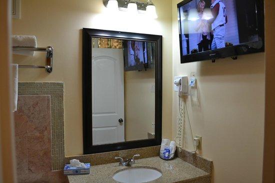 lockhart inn jacuzzi bathroom erea with 32 tv