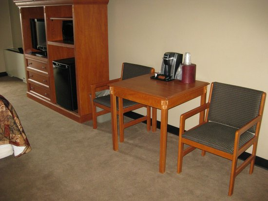 Shooting Star Casino & Hotel:                   Television, microwave, and mini-fridge along with a table, two chairs, and a c