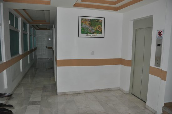 Hotel Irekua:                   Hallway, view to back and elevator
