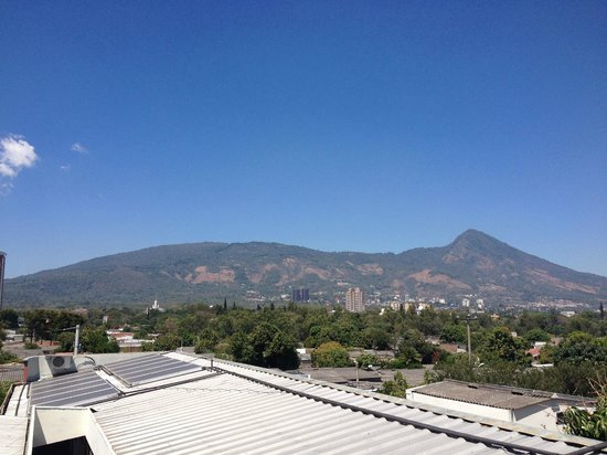 View from the roof solar panels for water heating at for Arbol de fuego jardin