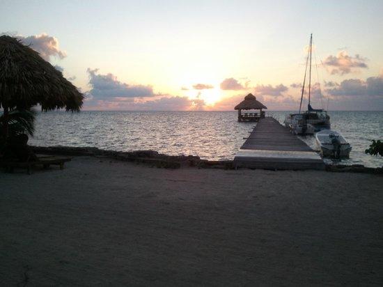 Xanadu Island Resort:                                     Pre-sunrise. View of palapa & dock