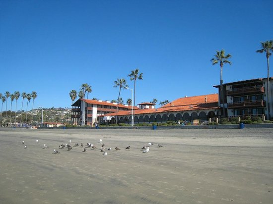 La Jolla Shores Hotel:                   Hotel from the beach
