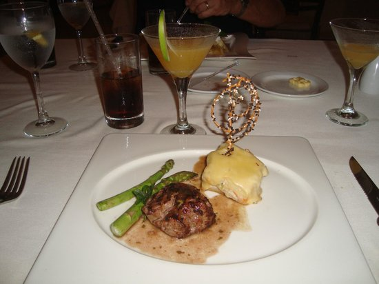 Casa Velas:                   Drinks, flitel mignon, asparagus, potatoes at Emiliano Restaurant on site