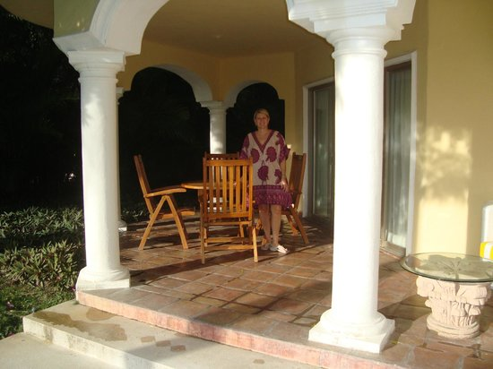 Casa Velas:                   Pam on patio of rrom 506, sliders to go in and out of room, private