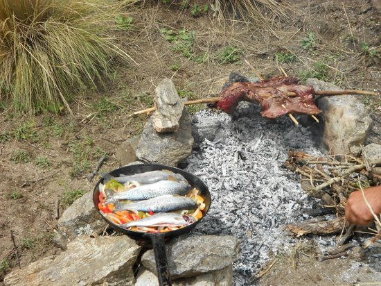 Estancia San Pablo:                                     Freshly caught trout cooked streams-side