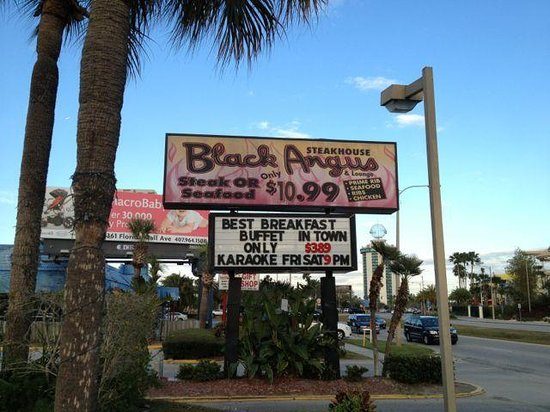 Black Angus Steak House :                   Only two good things about this restaurant: $3.89 breakfast buffet and karaoke