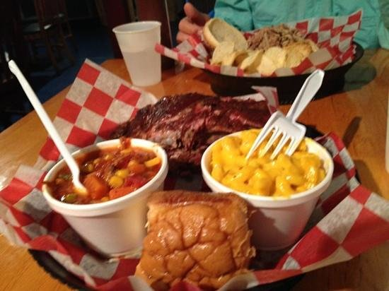 Hamaknockers BBQ:                   large ribs with Mac & cheese & Brunswick stew
