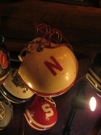 Chappell's Restaurant & Sports Museum:                   Nebraska Cornhusker helmet
