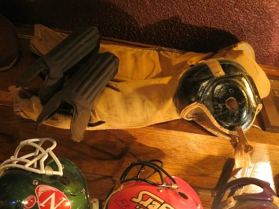 Chappell's Restaurant & Sports Museum:                   Early football gear