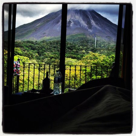 Arenal Kioro:                                     The view from our bed.