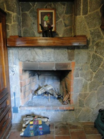 Posada de Santiago:                   The working fireplace, ready to light.
