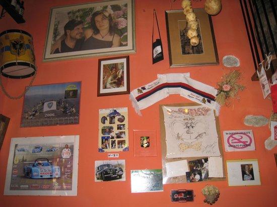 Osteria La Magione:                   picture and awards wall