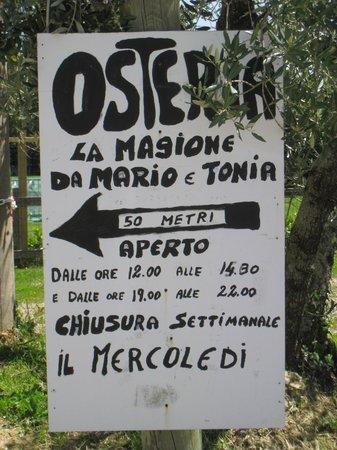 Osteria La Magione:                   restaurant sign