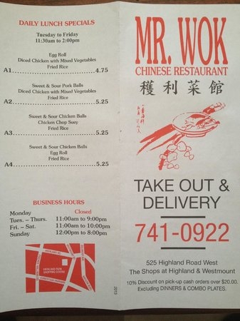 Front page of menu - Mr. Wok