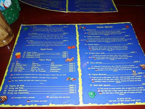 Backpackers Paradise Costa Linda:                                     The menu
