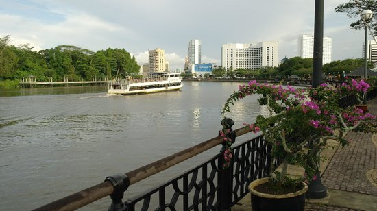 The Ranee Boutique Suites:                   View along the Sarawak River from opposite The Ranee