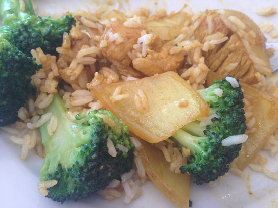 Mr. Wok:                   Curry Chicken dish mixed with steamed rice side and stir fried broccoli half-s