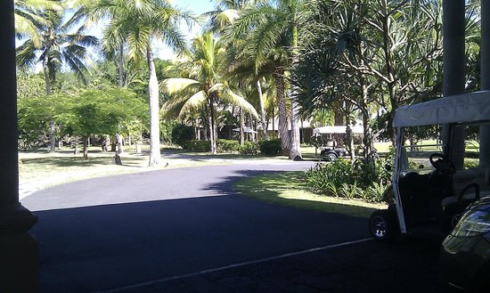 Constance Prince Maurice:                                     View from entrance over to Spa behind trees and putting area