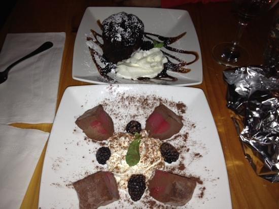 Tesoro:                                     Chocolate Tartufo and Lava cake...