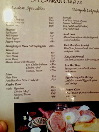 Palmyrah Restaurant:                   Lankan specialites side of the menu