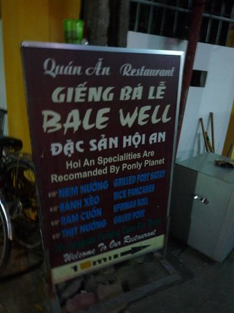 "Bale Well:                   Signboard (""recommended by Ponly Planet"")"