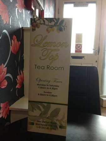 Lemon Top Tea Room:                   opening times