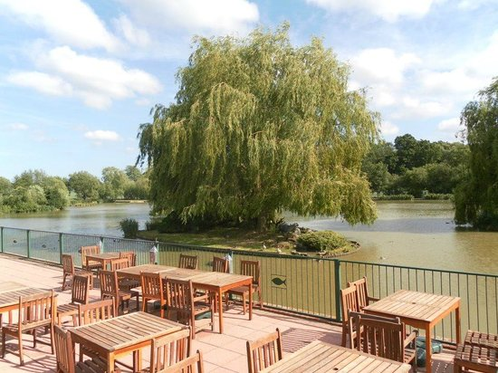 Waterside Cafe: Seating overlooking the lakes