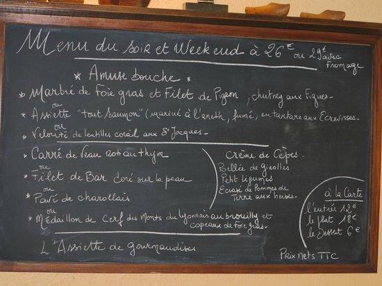 Chez Bernard:                   le menu à la carte