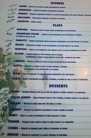 Afghan Cafe :                                                       La carte