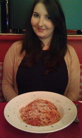 Avanti:                   Me enjoying my favourite spaghetti Pomodoro