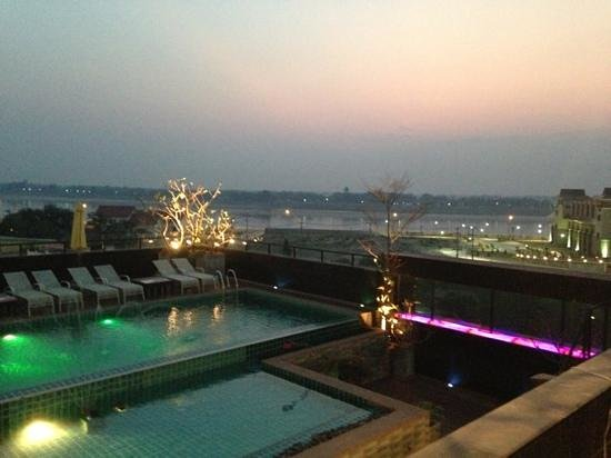 Rashmi's Plaza Hotel:                   view of the Mekong from rooftop bistro