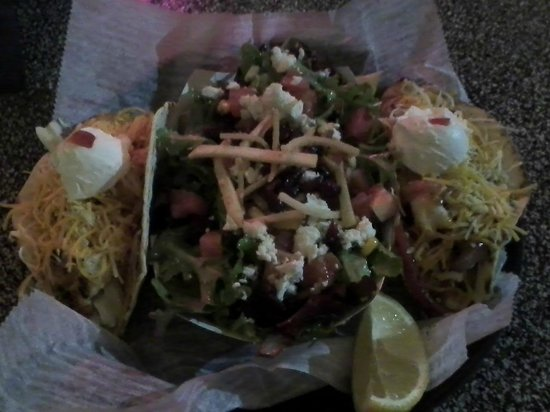 Lola's Seafood Eatery:                   shrimp tacos and Lola's salad