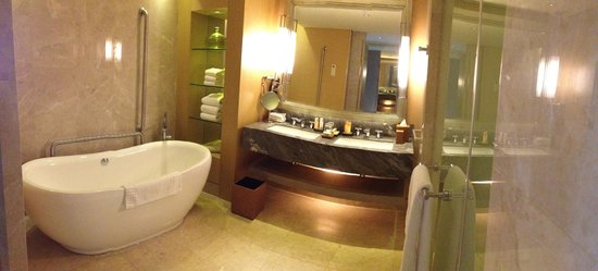 Marina Bay Sands:                                     Bathroom in Premier Room overlooking Gardens by the Bay