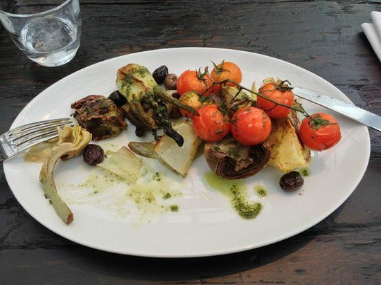 Gee's Restaurant :                   Wood Roasted artichoke, tomato and fennel.