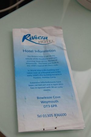 Riviera Hotel:                   The in-room information looked like it had been produced as a primary school p