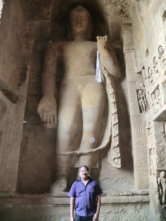 Kanheri Caves:                   Murali under the feet of Buddha on 29.12.12