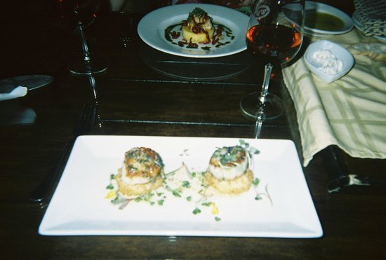 Wedmore Place:                                     Scallops over potato croquettes, so flavorful!