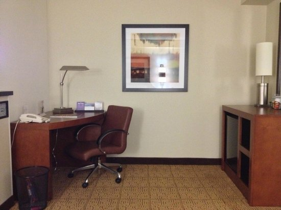 Hyatt Place College Station:                   desk and fridge