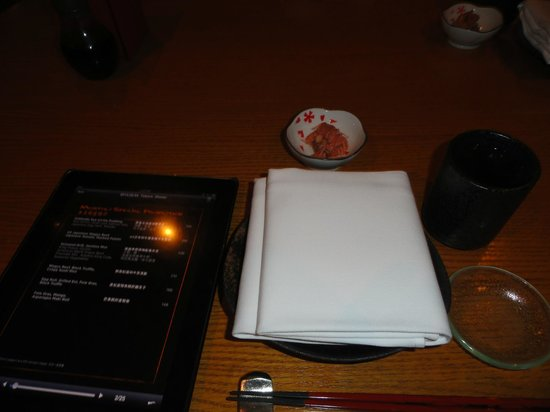 Tokoro - Robatayaki & Whisky Bar:                   Menu on Ipad, one for every guest...