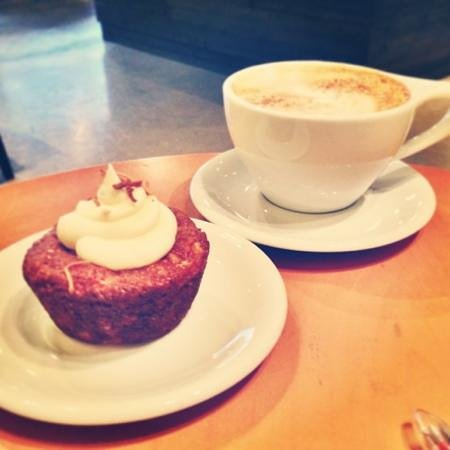 The Ledge Community Coffee House:                   Gluten free carrot cake muffin and cream cheese icing