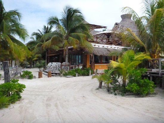 Holbox Hotel Casa las Tortugas - Petit Beach Hotel & Spa:                   Exterior of the restaurant and deck as seen from the street