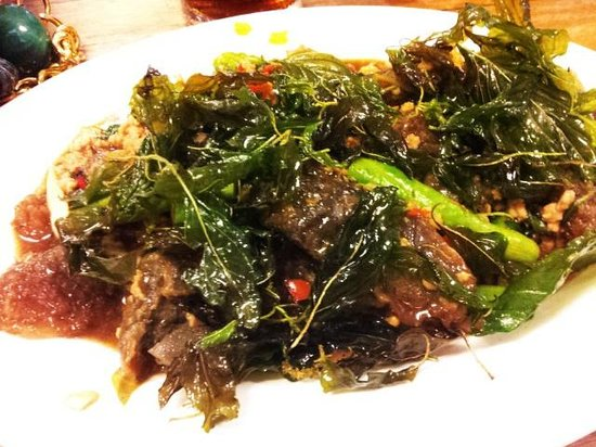 Kao Tom Por Peang :                   Spicy preserved egg with crispy sweet basil ^_^