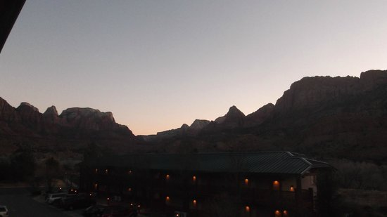 Majestic View Lodge:                   view into Zion Canyon from our balcony