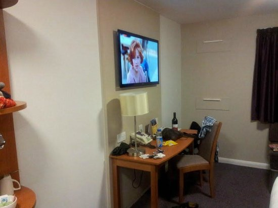 Premier Inn London Docklands (Excel) Hotel:                                     large flat screen tv