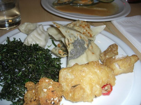East:                   Seaweed and seaweed in crepe plus cod in batter with curry leaves and chilly