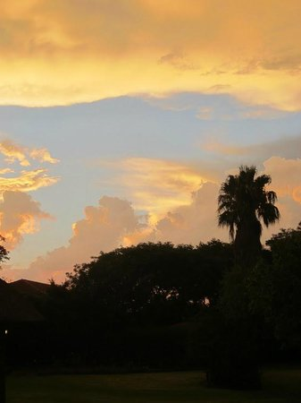 African Footprints Lodge:                   Sunset over the guest house