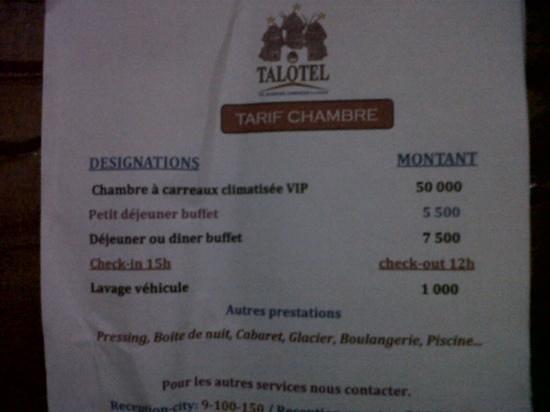 Talotel:                                     prix chambre 107 nego possible