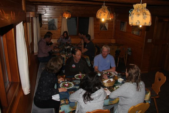 Selkirk Mountain Experience Lodge: Durrand Glacier:                                     Dining with Ruedi in the main room