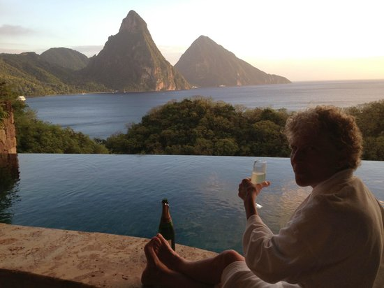 Jade Mountain Resort:                                     sipping on the fourth wall of our sanctuary