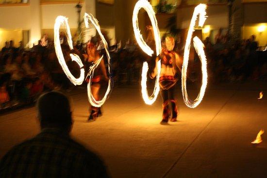 Heaven at the Hard Rock Hotel Riviera Maya:                   fire show in center court yard